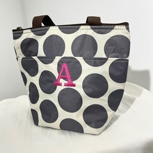 Thirty-One Monogrammed Polka Dot Lunch Tote